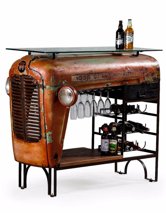 Upcycled Vintage Tractor Bar Table with Glass Counter Top