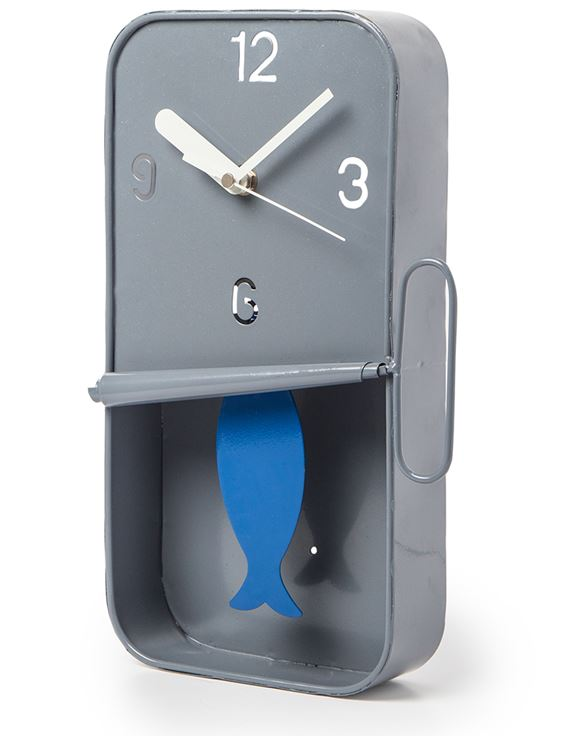 Grey Metal Sardine Tin Pendulum Wall Clock