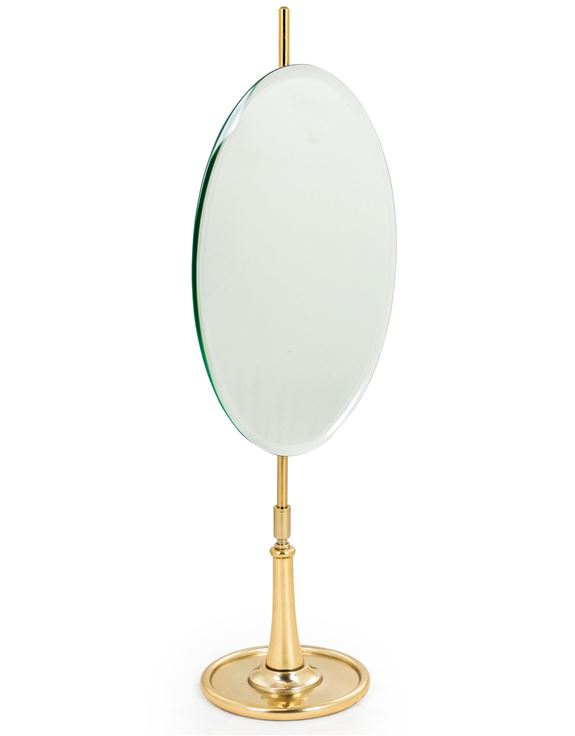 Oval Table Mirror on Brass Stand